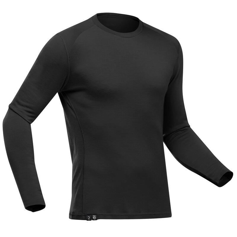 Men's Mountain Trekking Long-sleeved T-Shirt - TREK 500 MERINO PURE Black