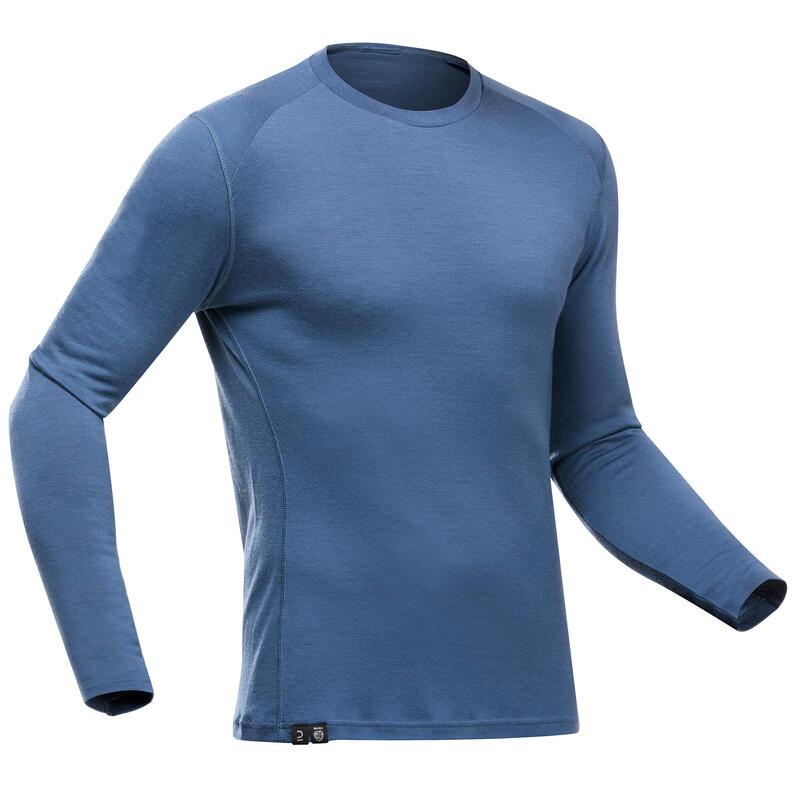 Men's Mountain Trekking Long-sleeved T-Shirt - TREK 500 MERINO PURE Grey