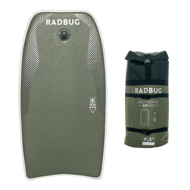 Tabla Bodyboard Hinchable Radbug Air 500 Caqui Mochila. Bomba no incluida.