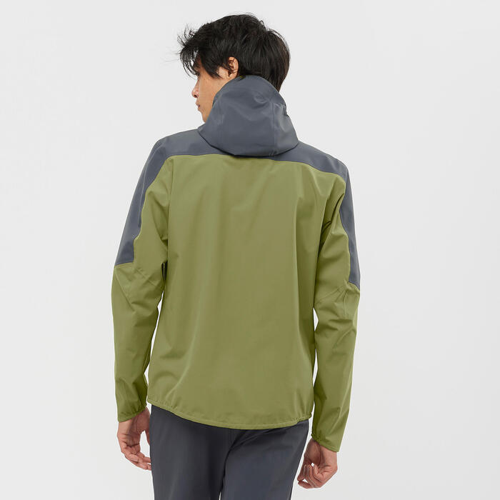 Veste imperméable de randonnée - Salomon Outline - Vert Grise Homme