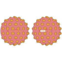 Pequena bola de iniciação aquática rosa com picos amarelos