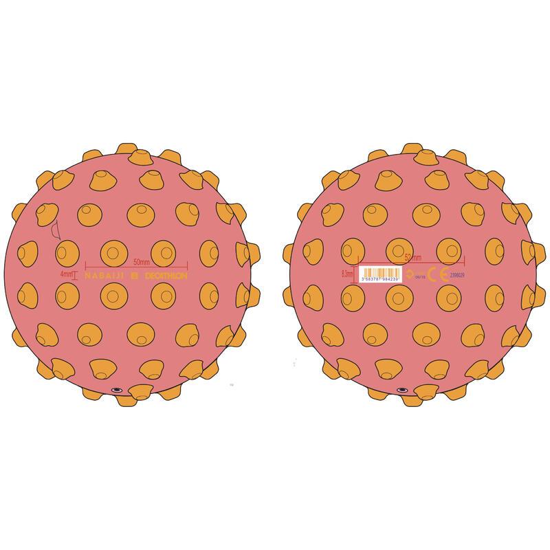 Petit ballon d'éveil aquatique rose et picots jaunes