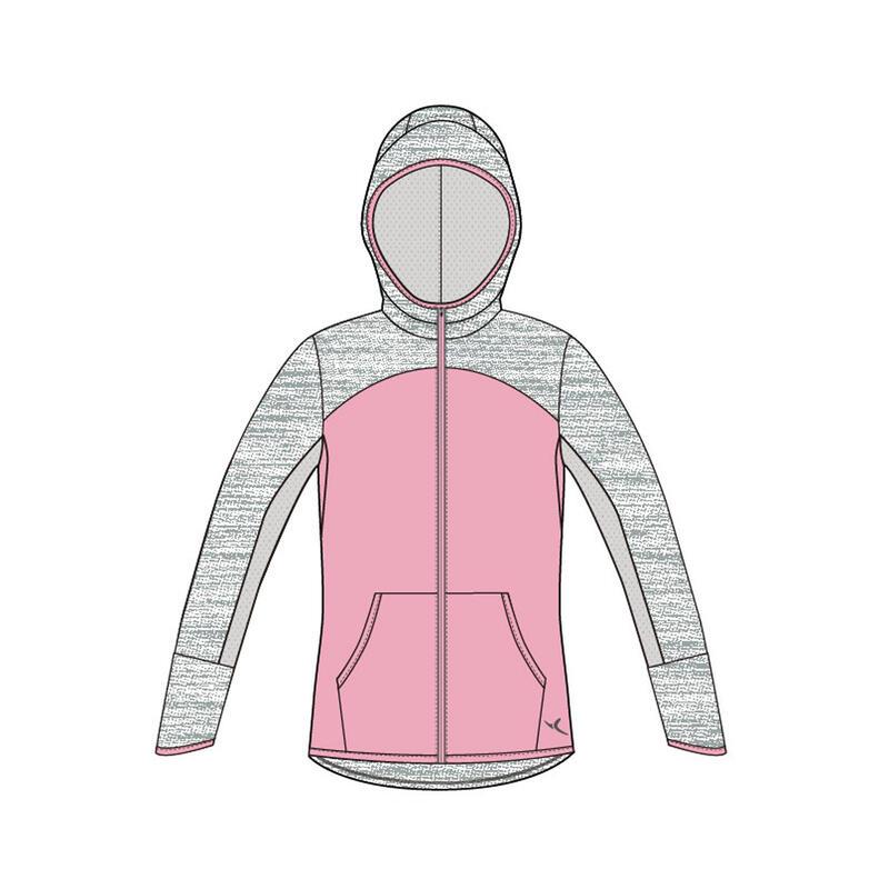 Kids' Zip-Up Hooded Sweatshirt - Pink/Grey