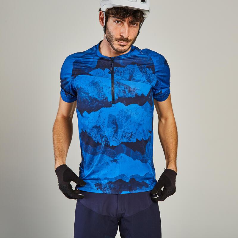 ST 500 Short-Sleeved Mountain Bike Jersey - Blue/Yellow