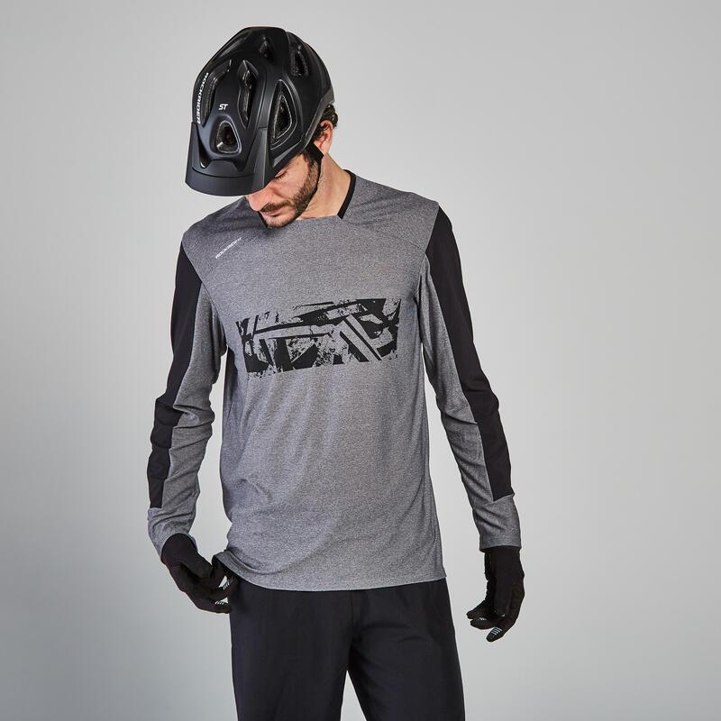 Long-Sleeved Mountain Biking Jersey ST 100 - Grey