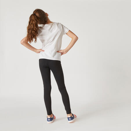 T-shirt manches courtes gym enfant100 blanc– Fille
