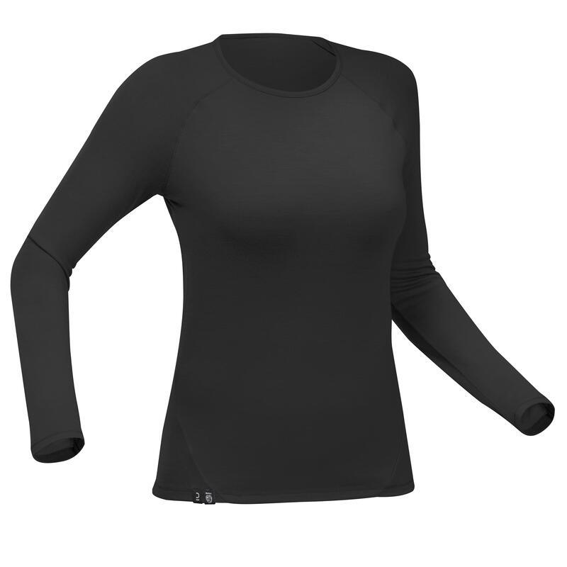 T-shirt mérinos trekking montagne manche longue - Trek 500 noir -femme