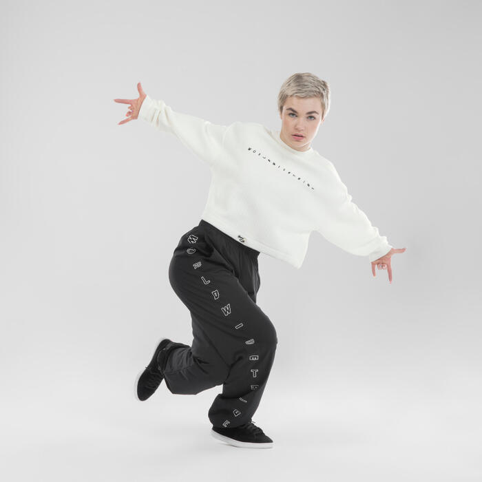 Sweat danses urbaines crop top blanc femme