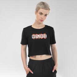 T-shirt crop top danses urbaines noir femme