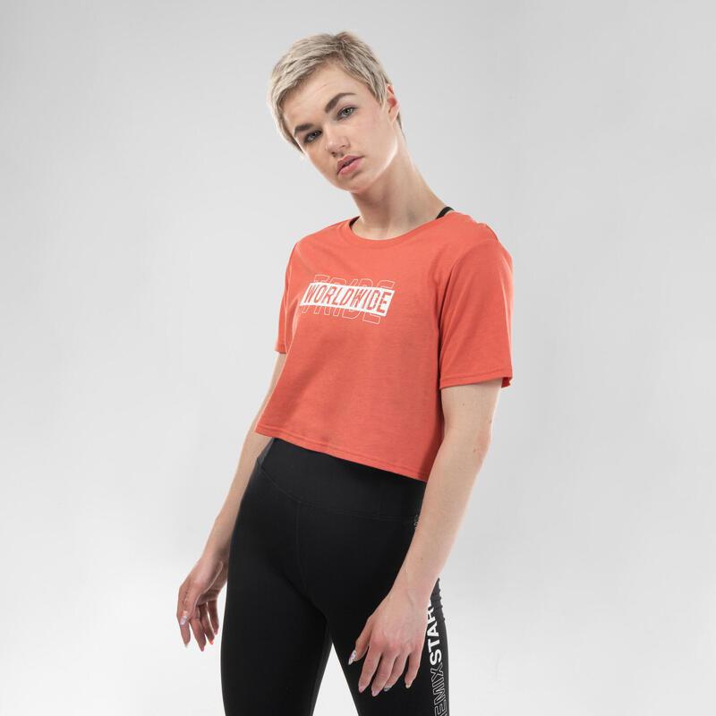 T-shirt crop top danses urbaines rouge femme