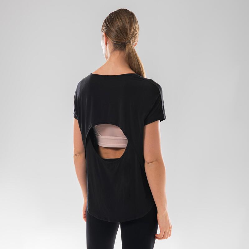 T-Shirt danse moderne fluide noir ouvert dans le dos pour femme