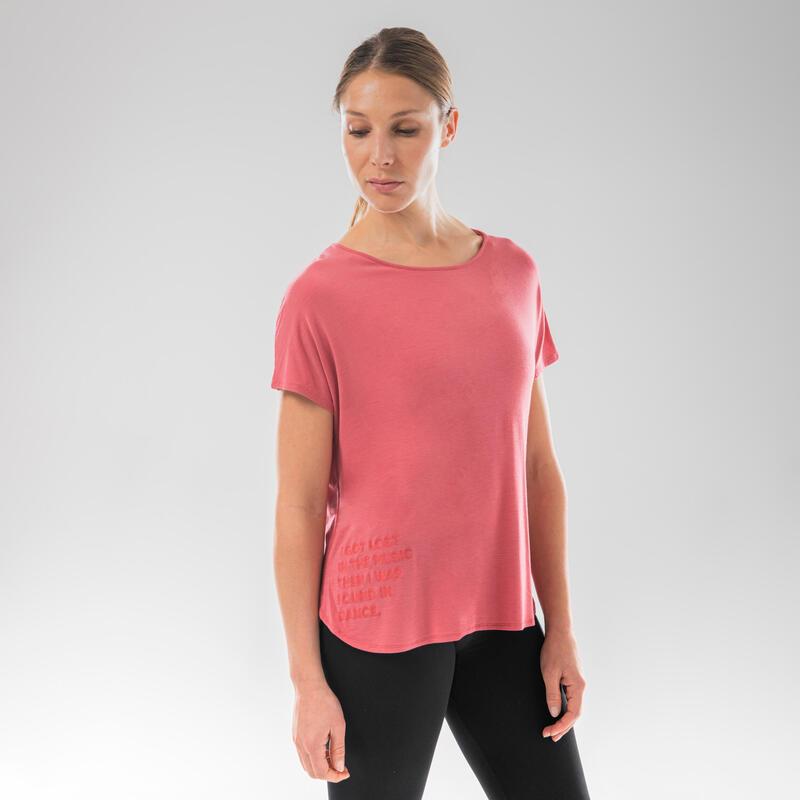 T-Shirt danse moderne fluide rose ouvert dans le dos pour femme