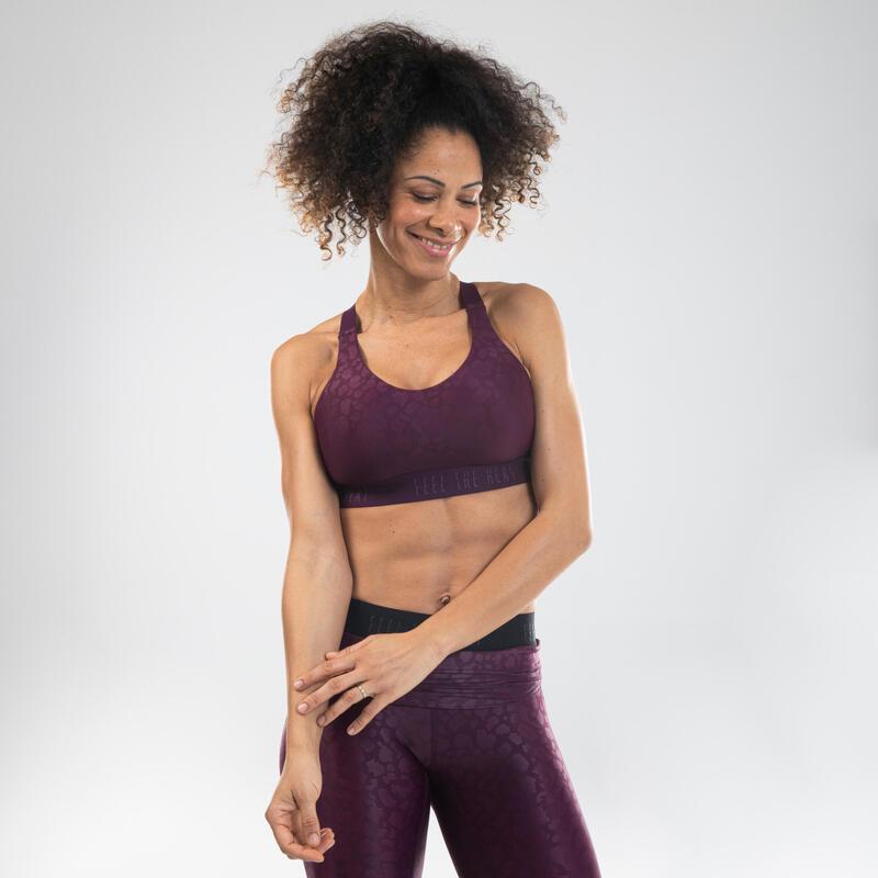 Sujetador-top danza fitness violeta con estampado mujer