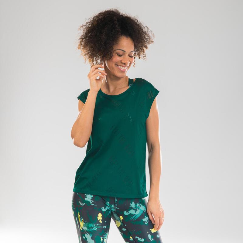 T-shirt de danse fitness ajouré vert femme