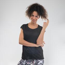 T-shirt Perfurada de Dança Cardio Mulher Preto
