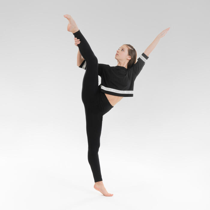 Tanzshirt Modern Dance Crop Top Kinder schwarz
