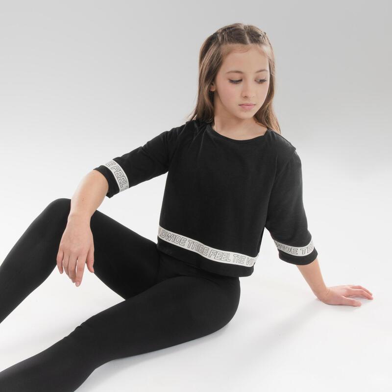 Cropped T-shirt voor moderne dans meisjes zwart