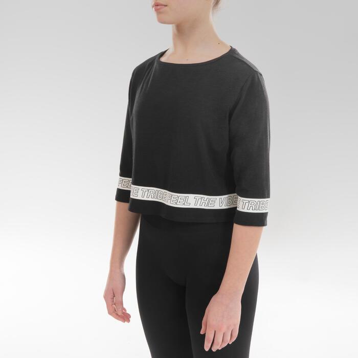 T-Shirt danse moderne crop top noir fille