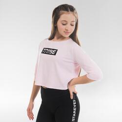 T-shirt Crop Top Fluída de Dança Moderna Menina Rosa