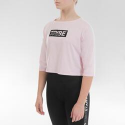 T-Shirt danse moderne crop top rose fille