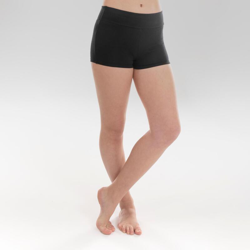 Short de danza moderna talle alto negro ceñido niña
