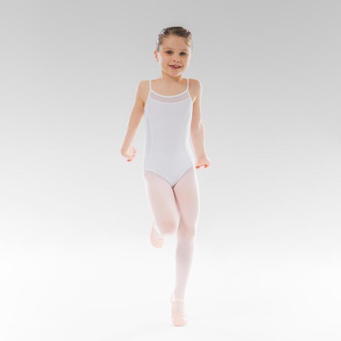 Tanzbody Ballett mit schmalen Trägern Mädchen weiss