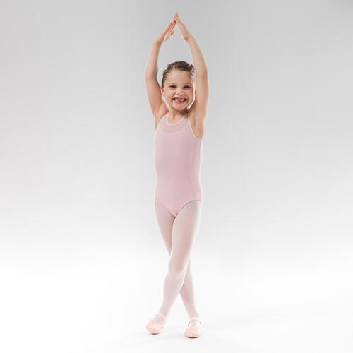 Justaucorps danse classique rose pale bi-matière fille