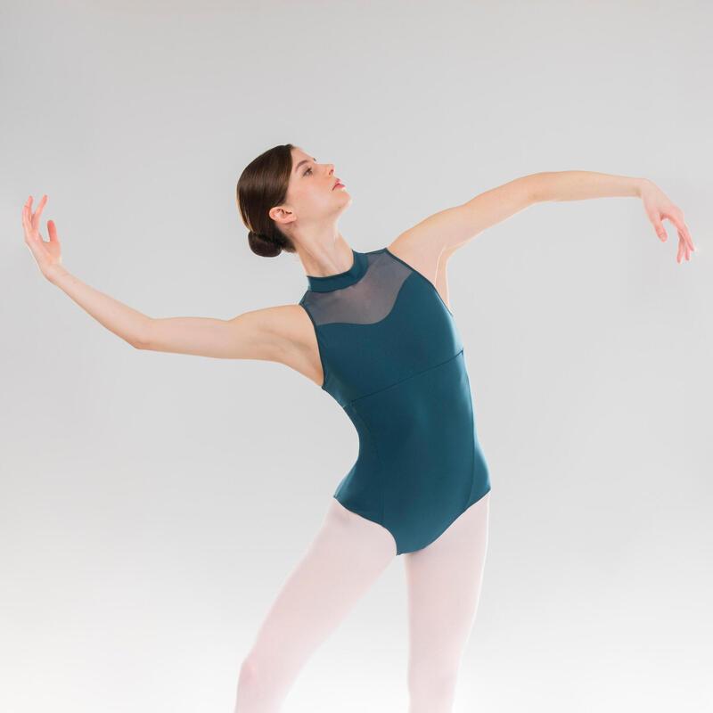 Justaucorps danse classique bleu col montant femme