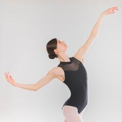 Justaucorps danse classique noir col montant femme