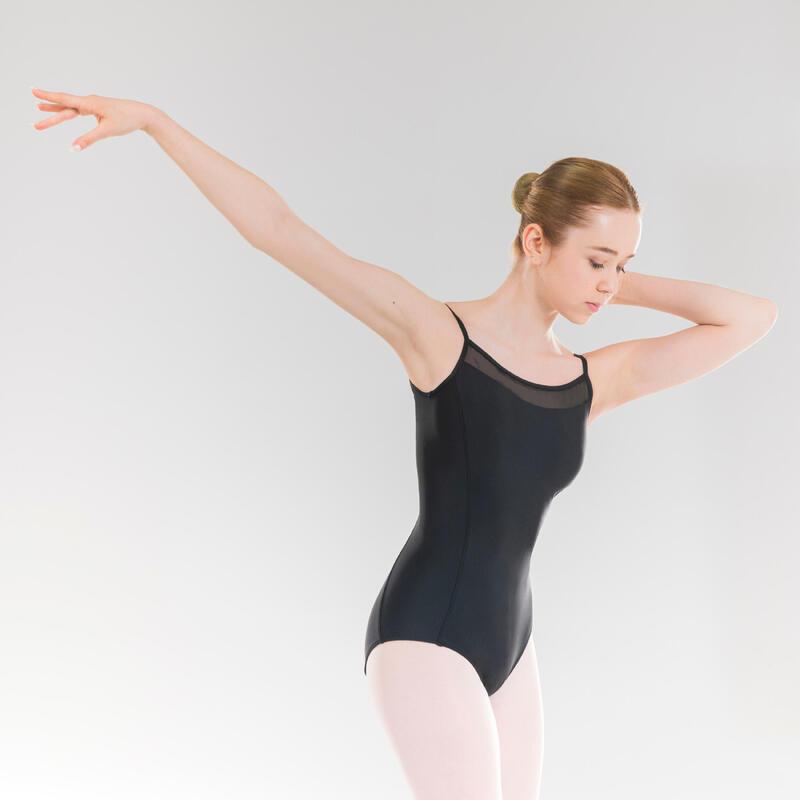 Justaucorps danse classique à fines bretelles noir fille