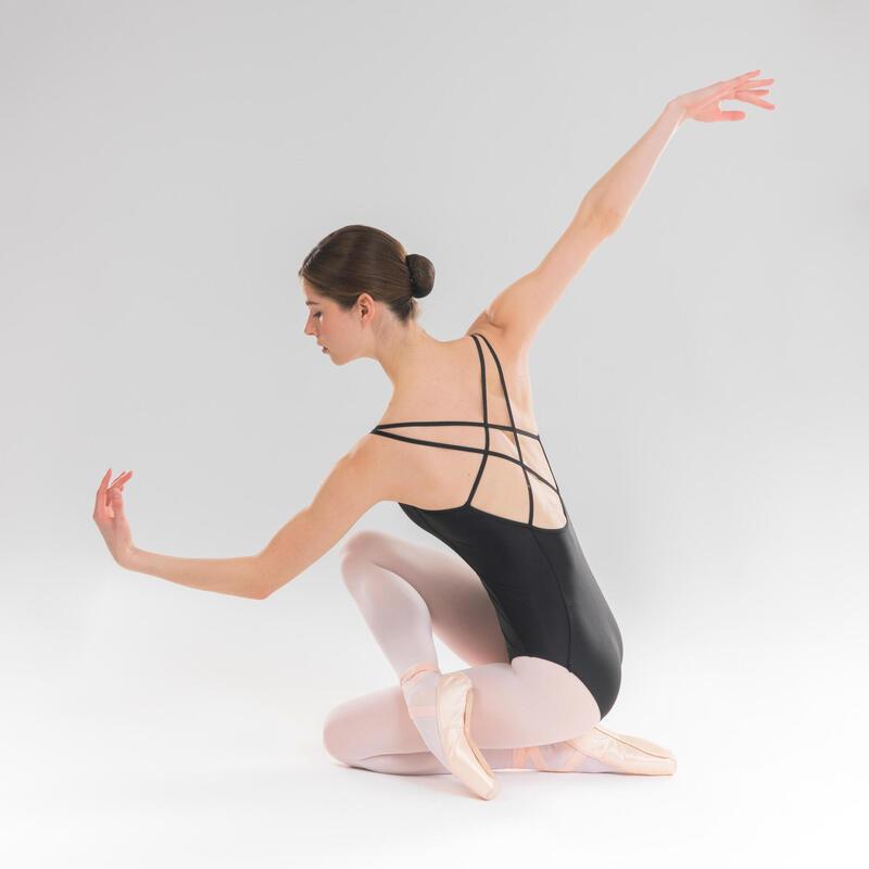 Women's Ballet Leotard with Cross-Over Straps - Black