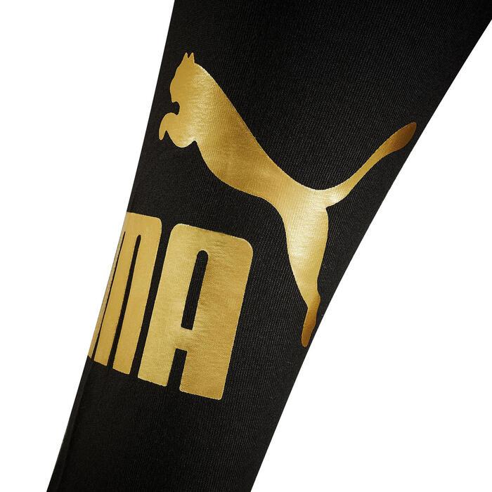 Leggings para Ginástica e Pilates Puma Algodão Preto com Logo Dourado