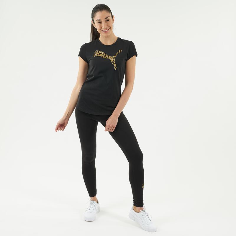 T-shirt fitness Puma manches courtes slim 100% coton col rond femme noir
