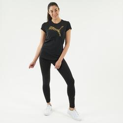 T-shirt voor fitness katoen zwart met goudkleurig logo