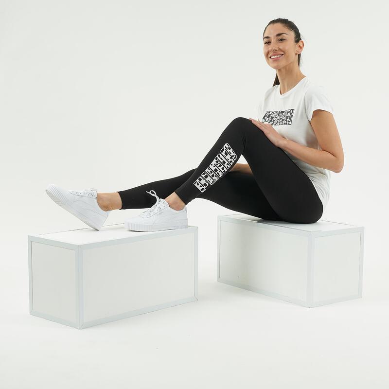 Legging fitness 7/8 coton majoritaire extensible femme - Logo noir blanc