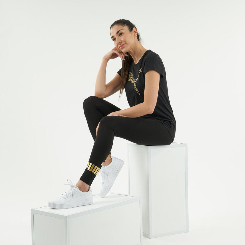 Legging Puma Fitness coton noir avec logo doré