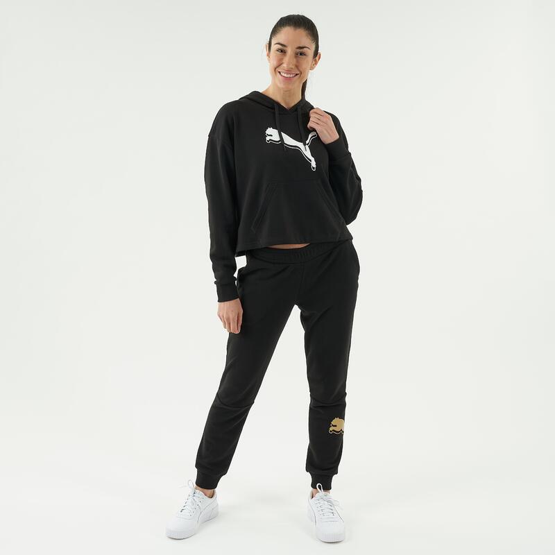 Cropped Hooded Sweatshirt - Black