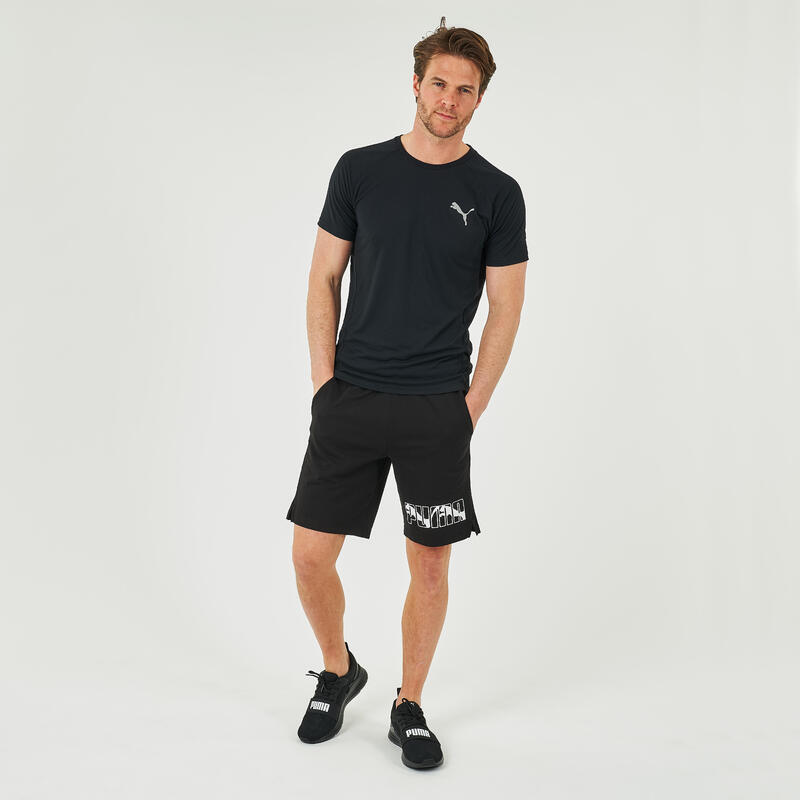 T-shirt fitness Puma manches courtes slim synthétique col rond homme noir