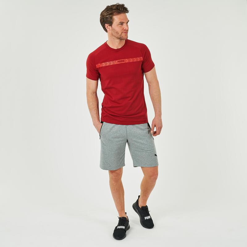 T-shirt fitness Puma Logo manches courtes slim coton col rond homme rouge