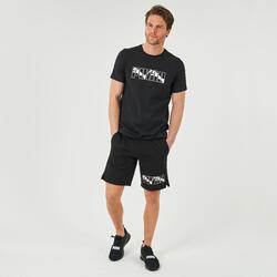 T-shirt fitness Puma Logo manches courtes slim 100% coton col rond homme noir