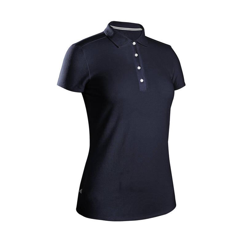 DÁMSKÉ GOLFOVÉ OBLEČENÍ DO MÍRNÉHO POČASÍ Golf - DÁMSKÉ POLO MW500 TMAVĚ MODRÉ INESIS - Golfové oblečení