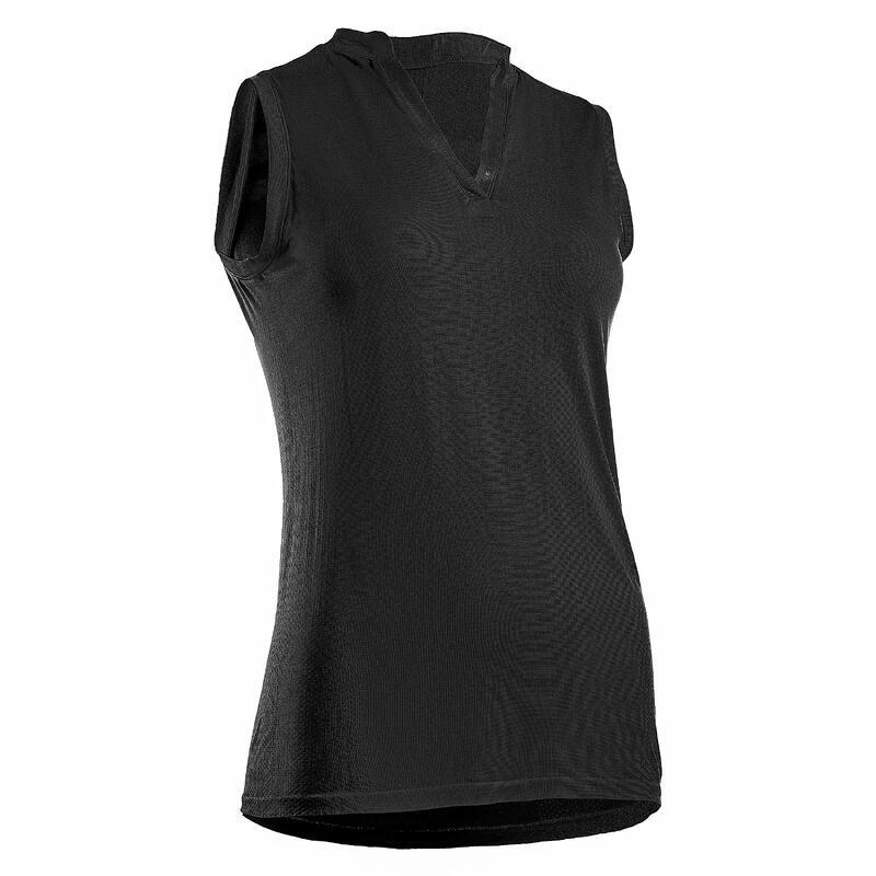 Mouwloze golfpolo voor dames WW900 zwart