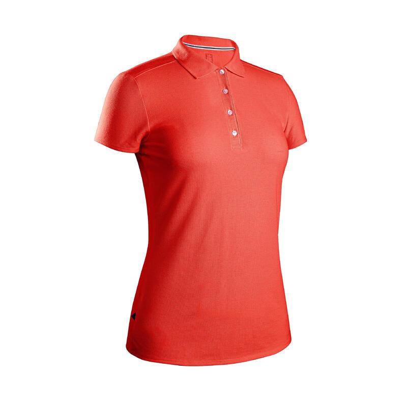 Women's golf short-sleeved polo shirt MW500 strawberry pink