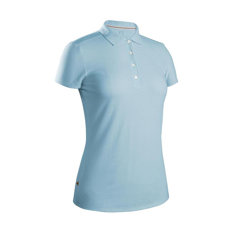 Women's golf short-sleeved polo shirt MW500 sky blue
