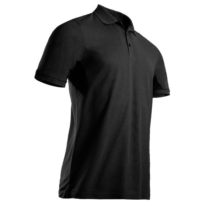 PÁNSKÉ GOLFOVÉ OBLEČENÍ DO TEPLÉHO POČASÍ Golf - GOLFOVÉ POLO WW500 ČERNÉ  INESIS - Golfové oblečení
