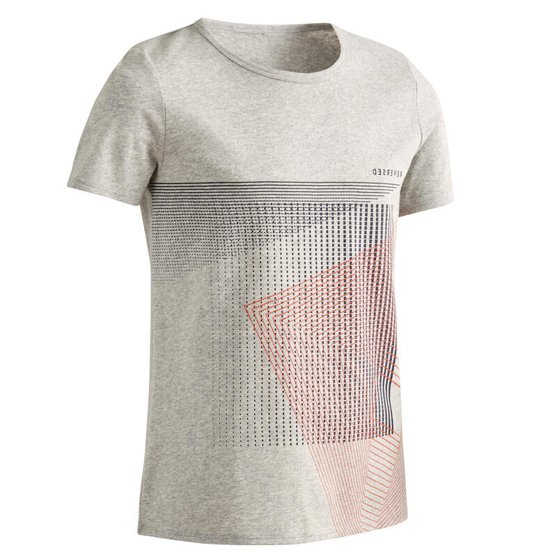T-shirt enfant coton - Basique gris clair avec imprimé