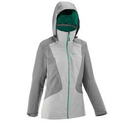 Chamarra impermeable travesía Forclaz 100 Mujer Bicolor Gris