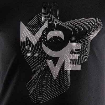 Camiseta de manga corta transpirable GIMNASIA INFANTIL 500 niños negro estampado