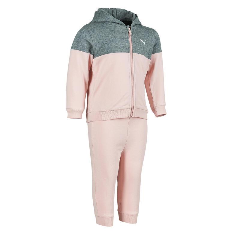 survêtement Puma à capuche gris et rose bébé imprimé