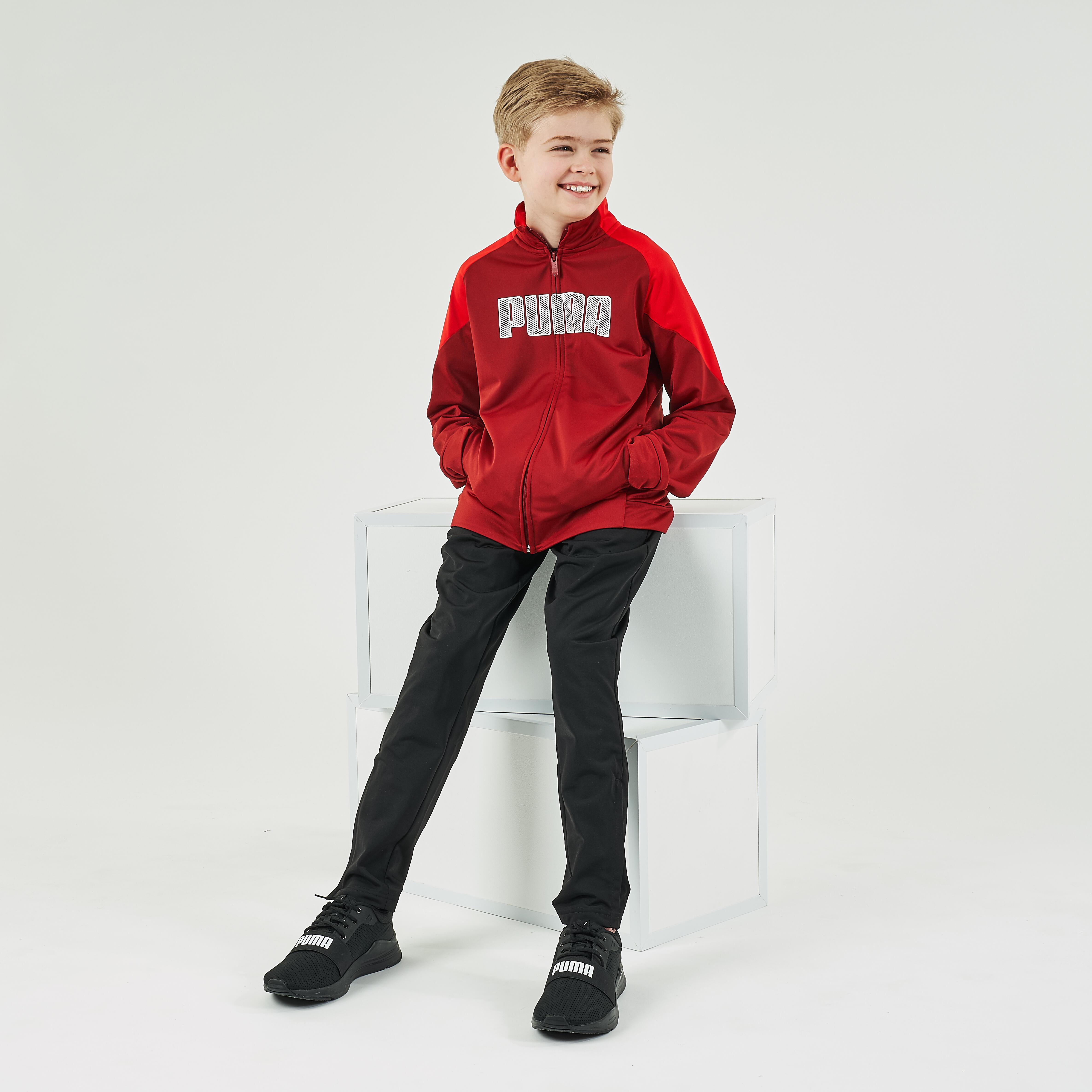 Trainingsanzug Puma Kinder rot/schwarz bedruckt